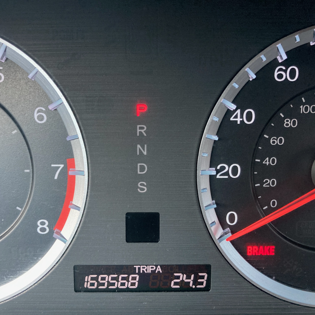 Car odometer reading 169568 TRIP A 24.3