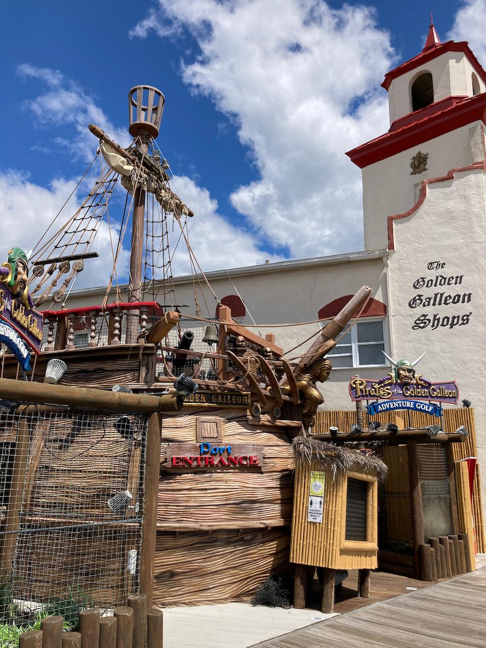 Pirate ship model on boardwalk of Ocean City.