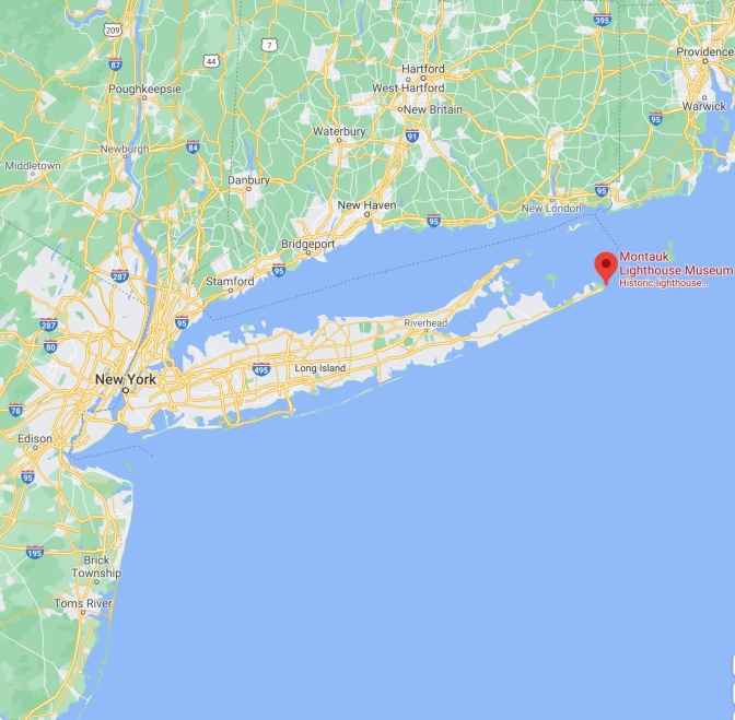 Red pin on eastern tip of Long Island, with words indicating Montauk Lighthouse Museum.