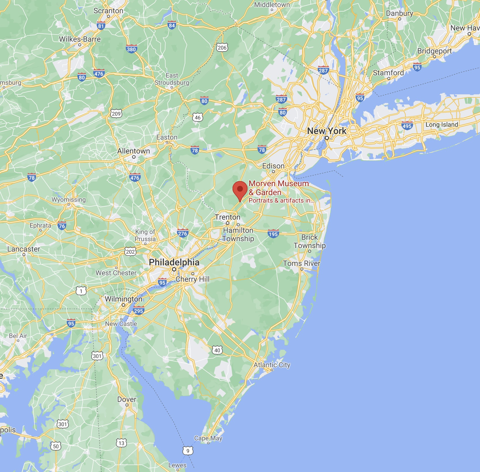 Map of New Jersey, with red pin in location of Morven Museum.