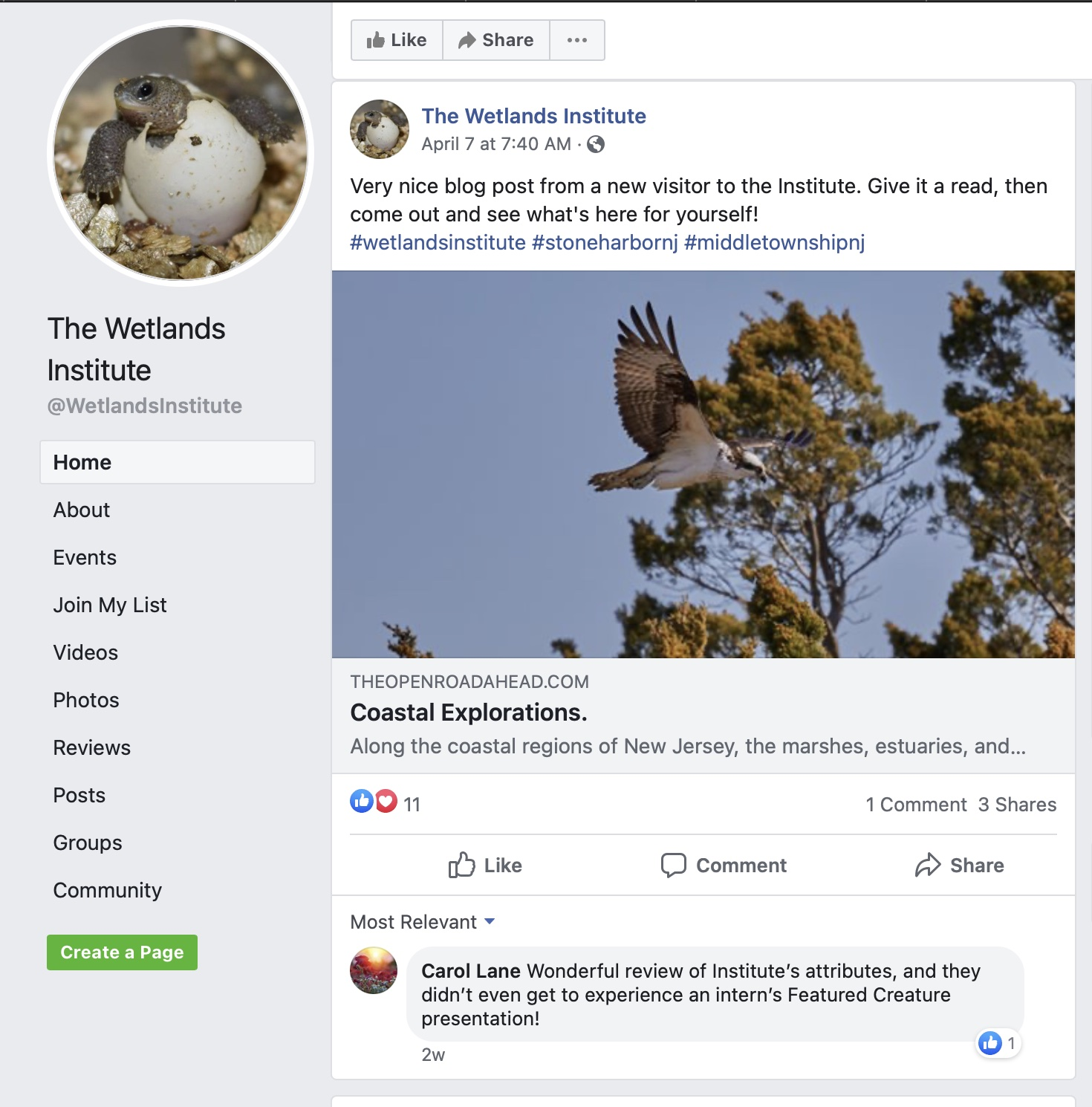 Screenshot of Facebook page showing post.