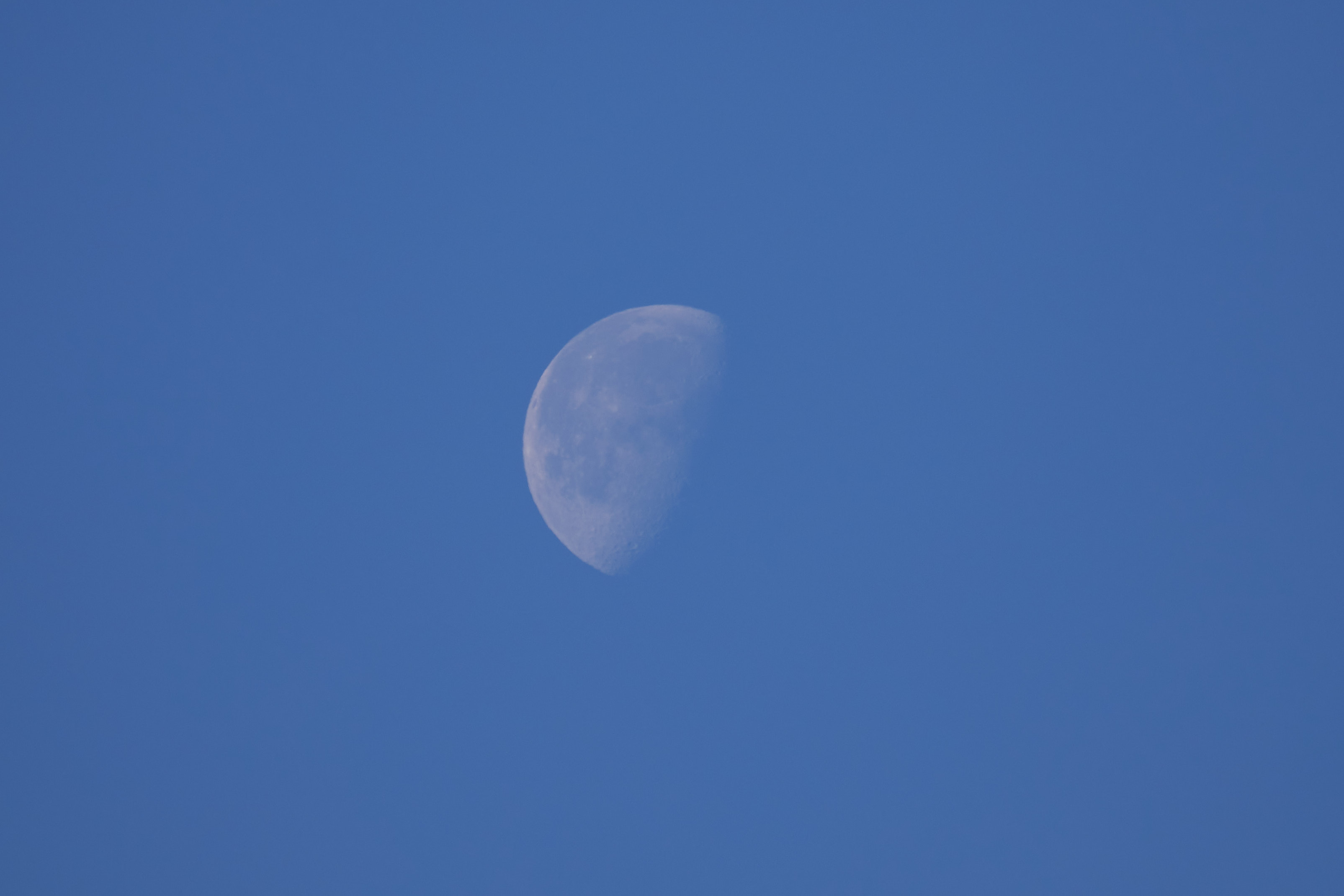 Moon visible against blue sky.