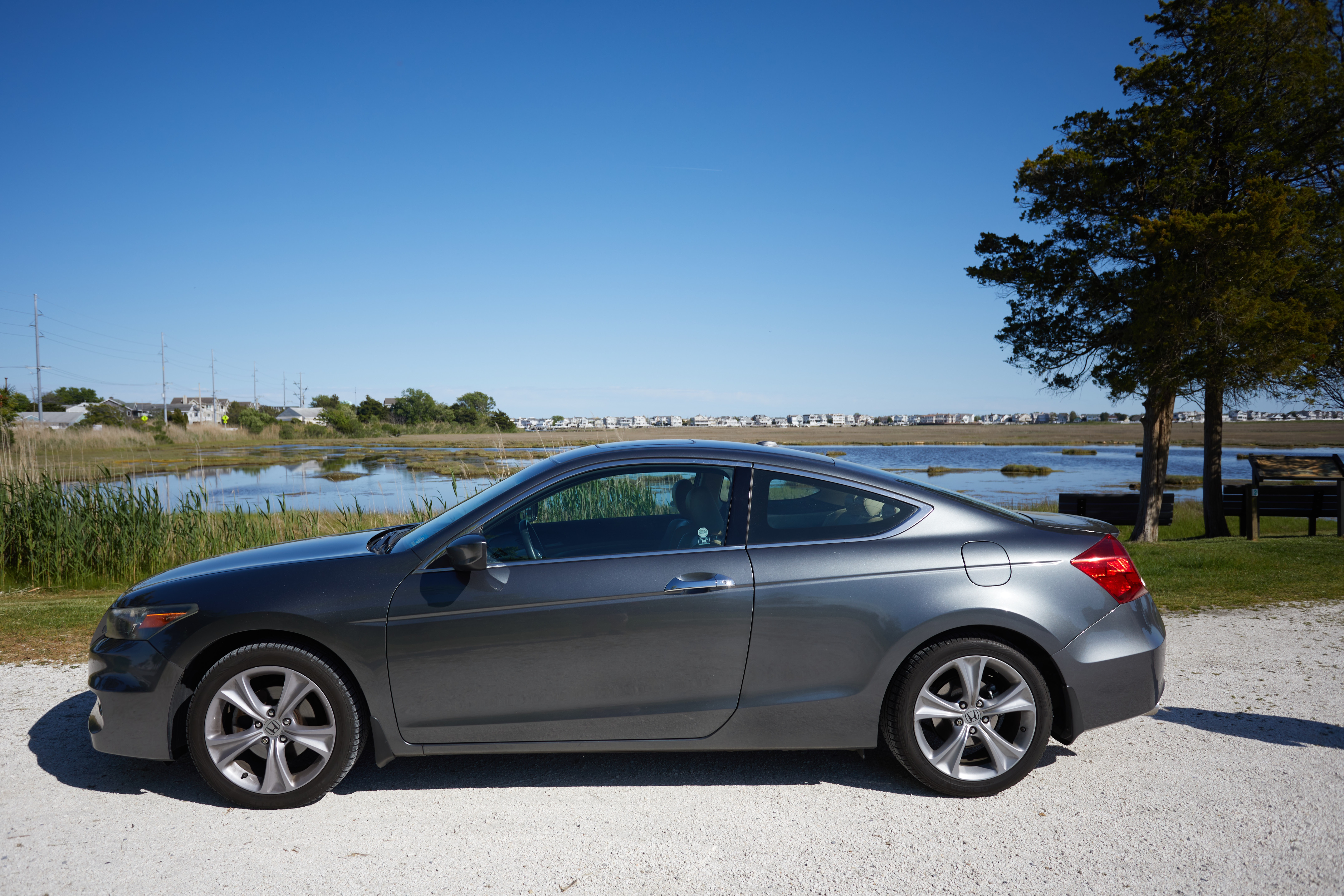 2012 Honda Accord parked in front of marshland at the Wetlands Institute.