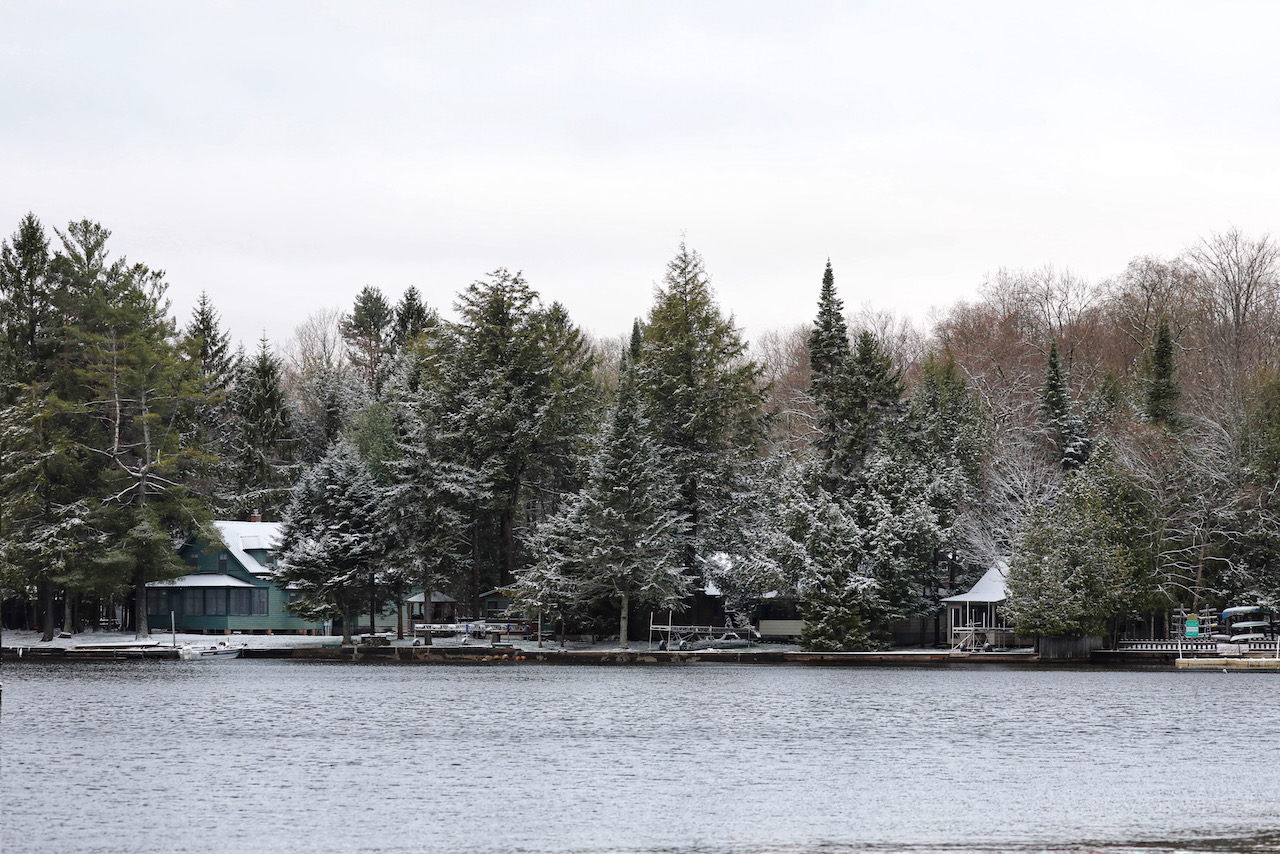 Snow-covered trees and homes along shoreline.