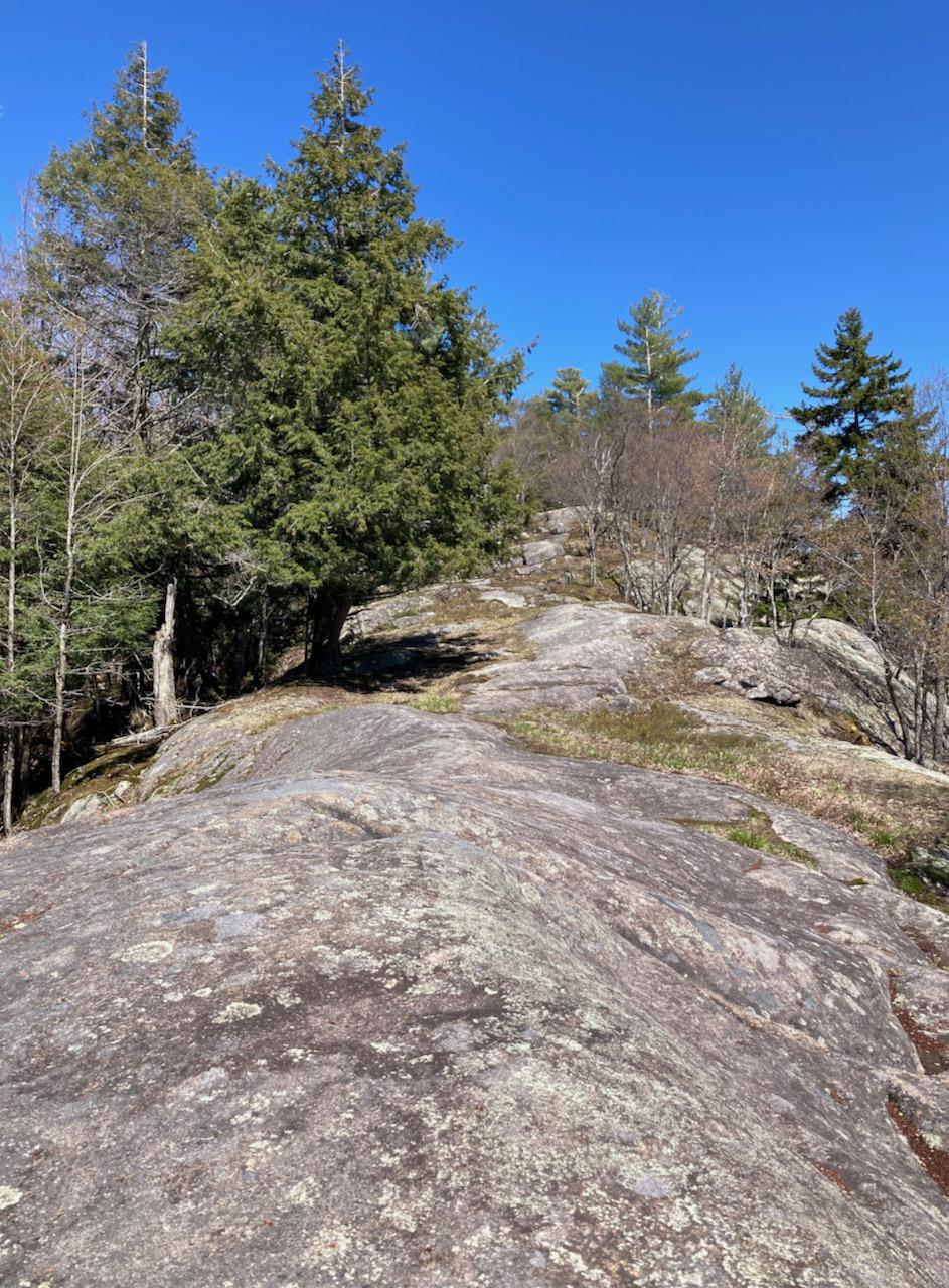 Rocky hilltop leading northward.