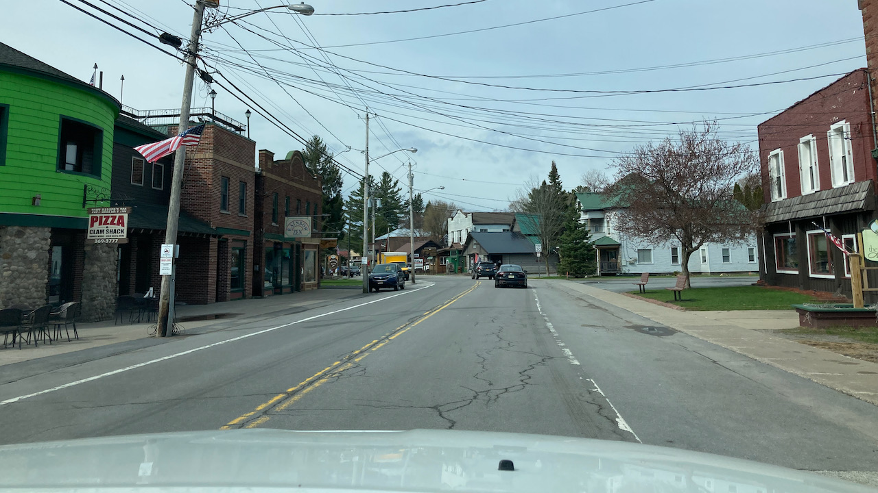 View of nearly-empty downtown Old Forge.