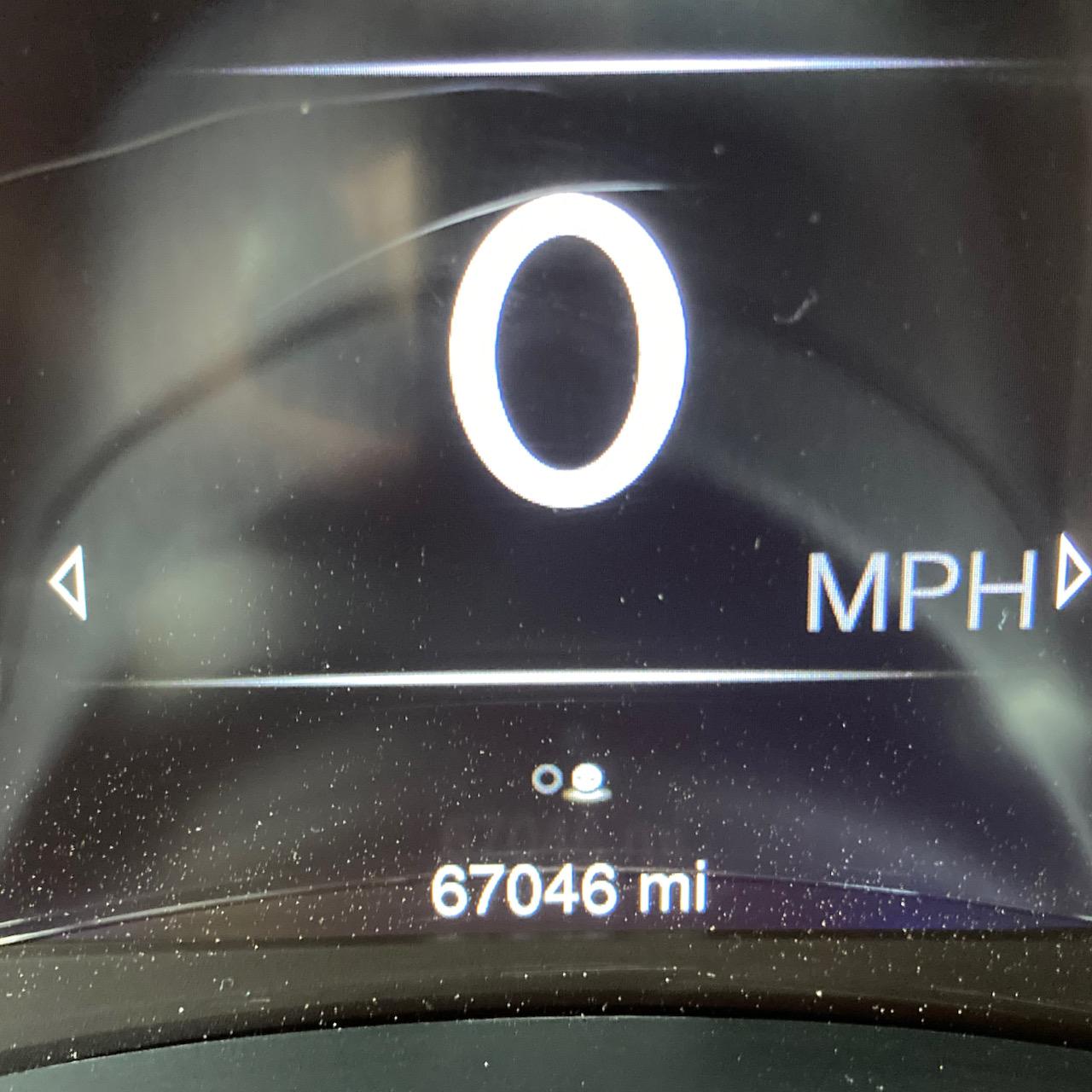 Car odometer reading 67046