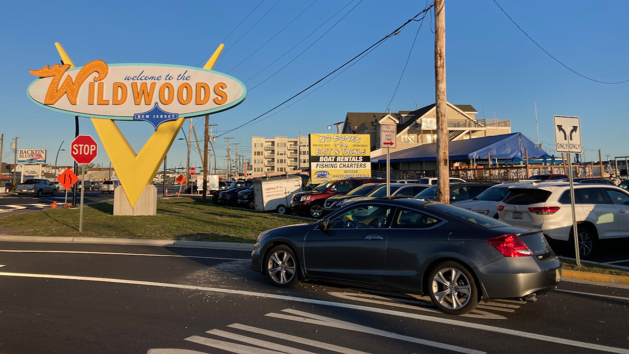 2012 Honda Accord parked in front of Welcome to the Wildwoods sign.