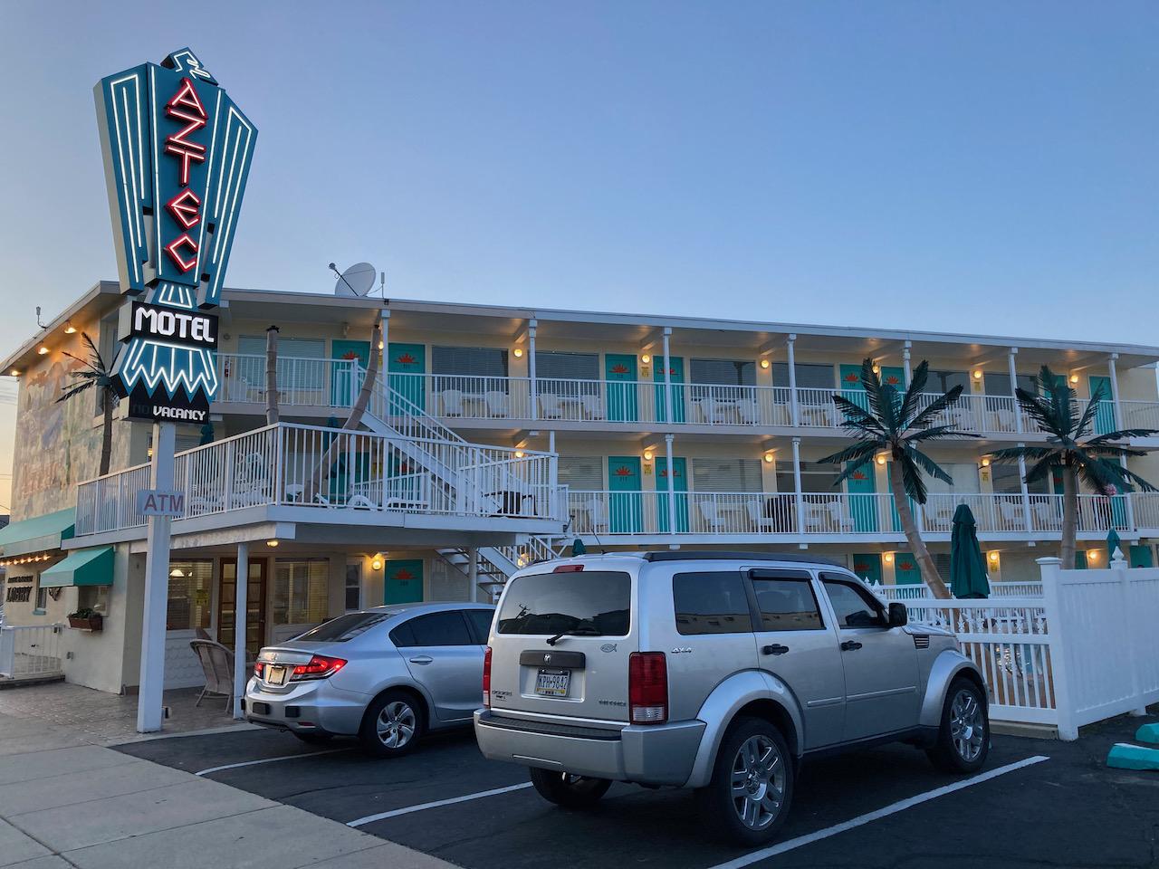 Exterior of Aztec Motel