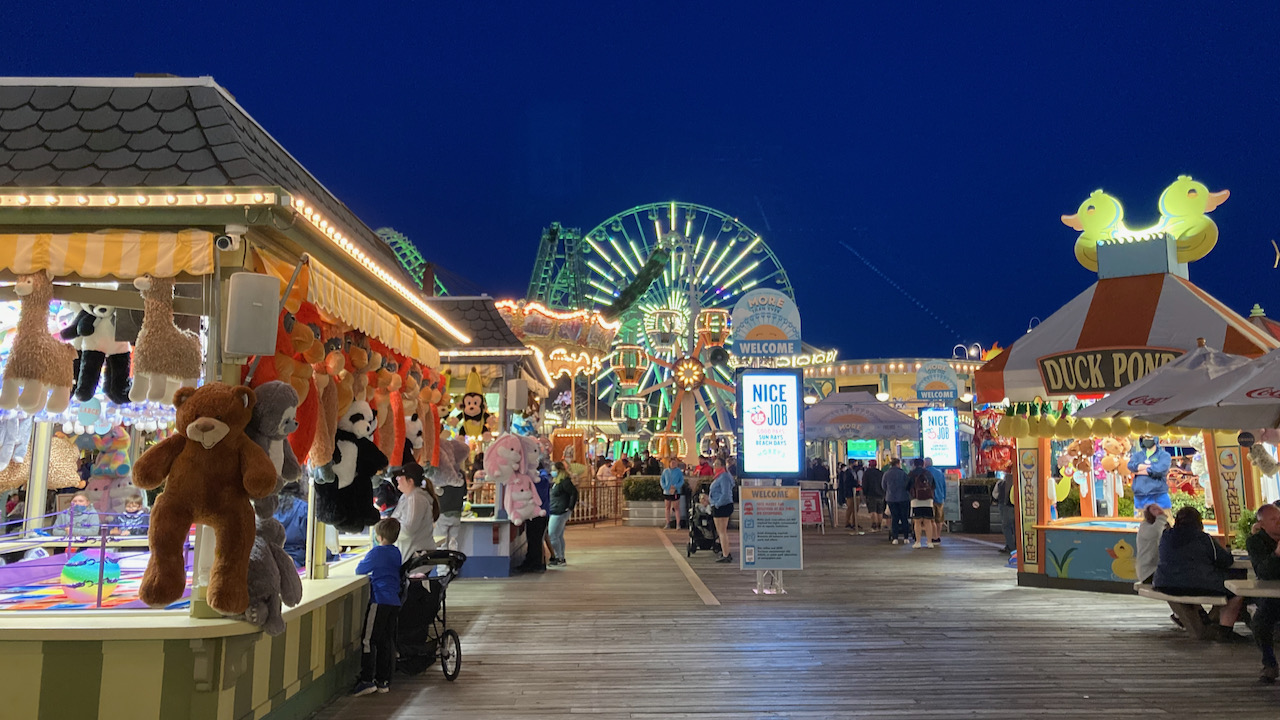 View of Morey's Pier, with ferris wheel in the background.