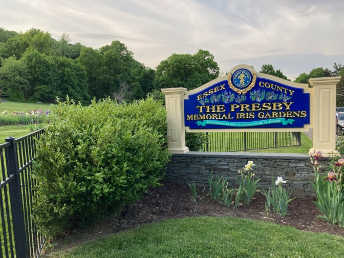 Sign that reads ESSEX COUNTY - THE PRESBY MEMORIAL IRIS GARDENS