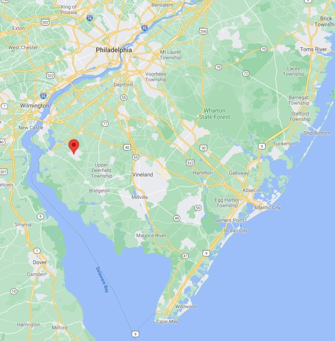 Map of southern New Jersey, with red pin in location of Alloway Lake.