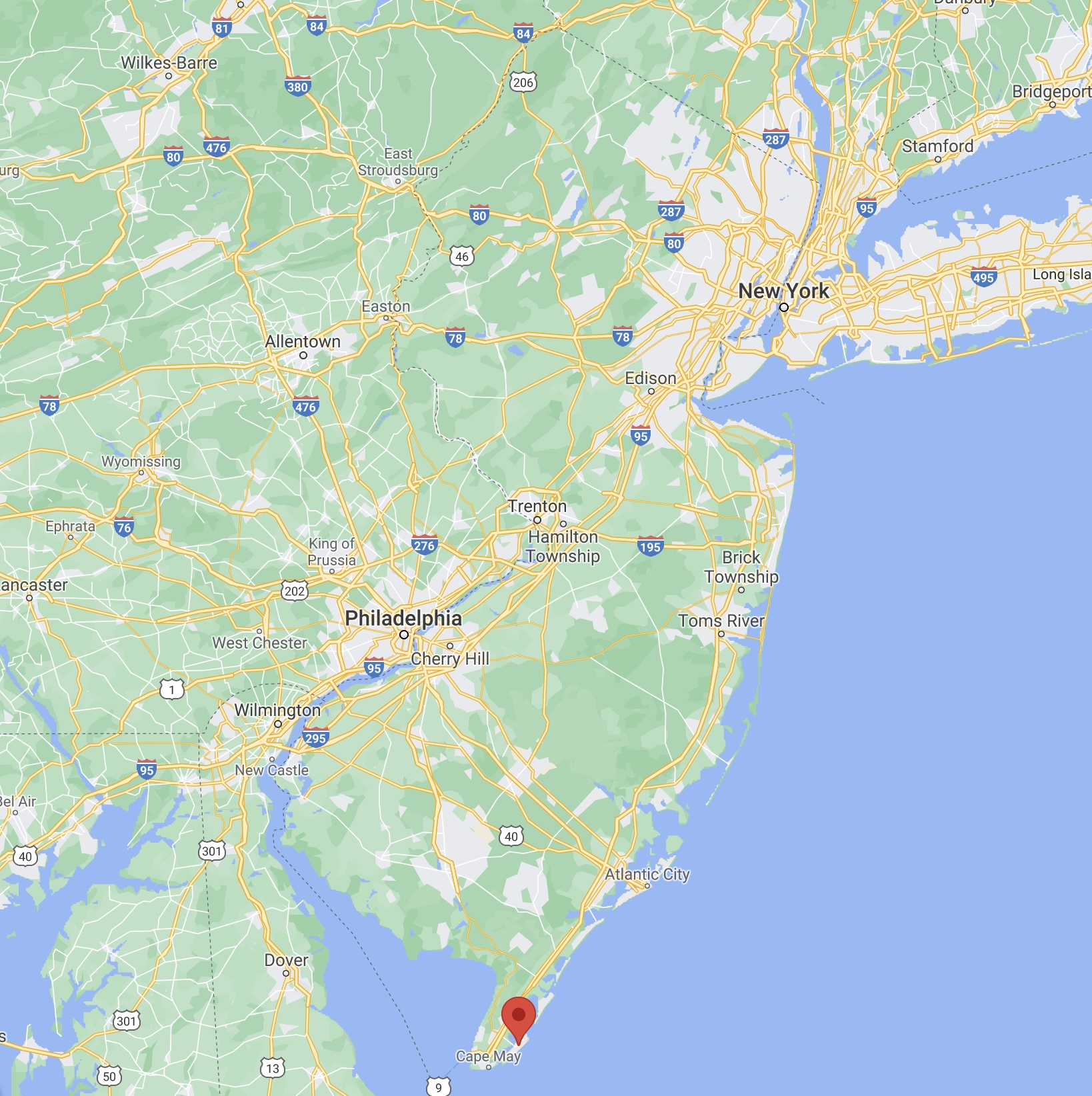 Map of New Jersey with red pin in location of Wildwood.