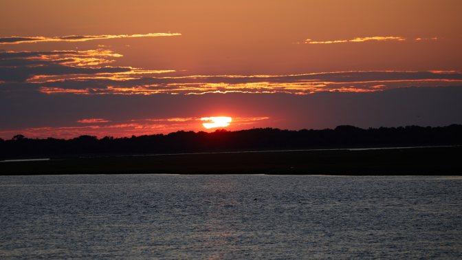 Sunset over bay side.