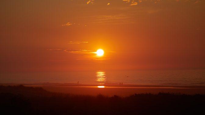 View of sunrise over ocean.