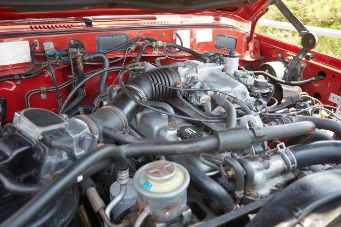 Engine bay of Toyota Land Cruiser.