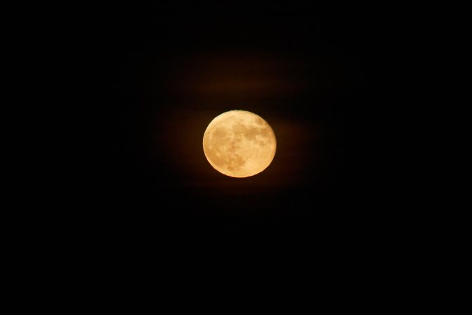 Bright green moon in sky.