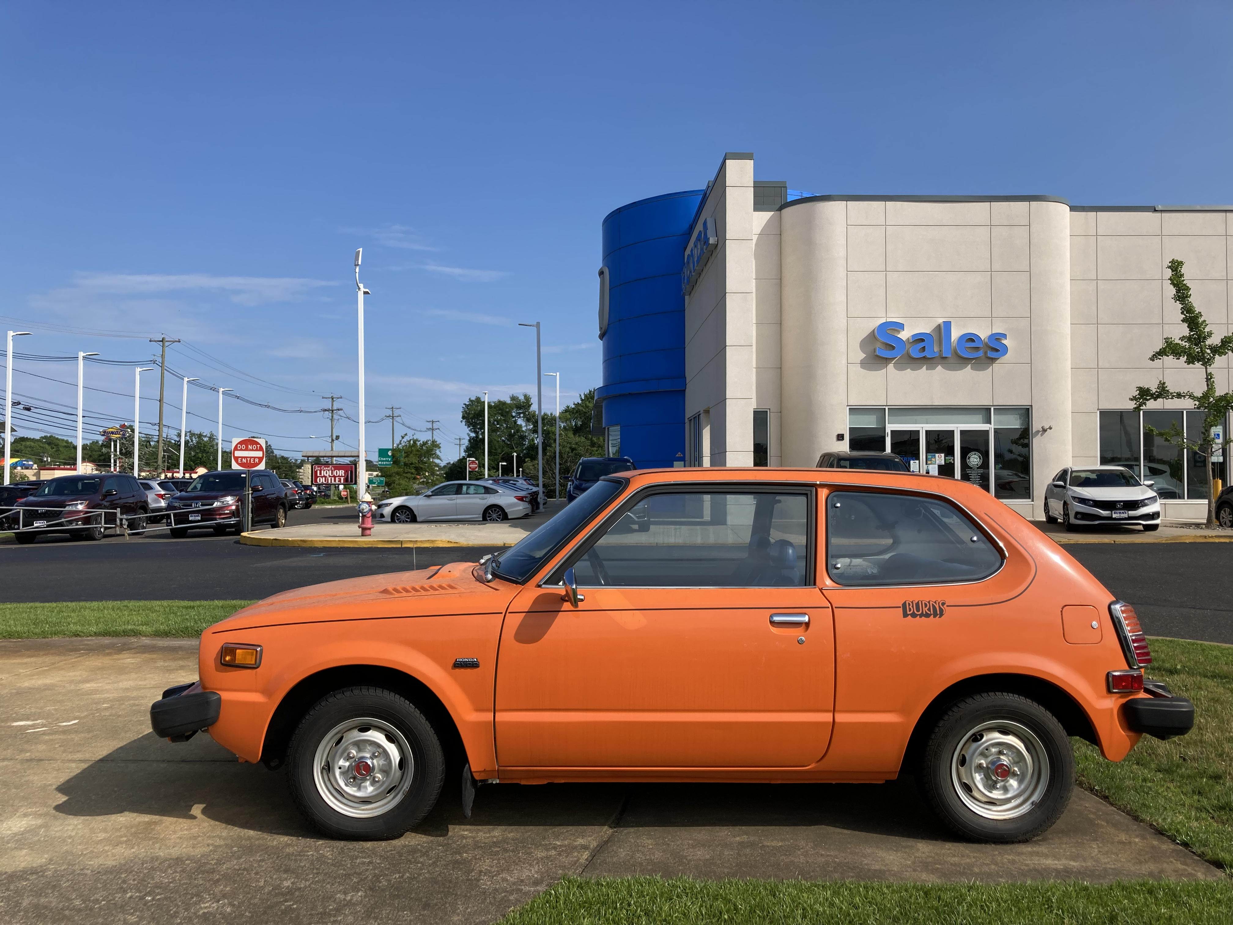 First-generation Honda Civic parked outside of Burns Honda.
