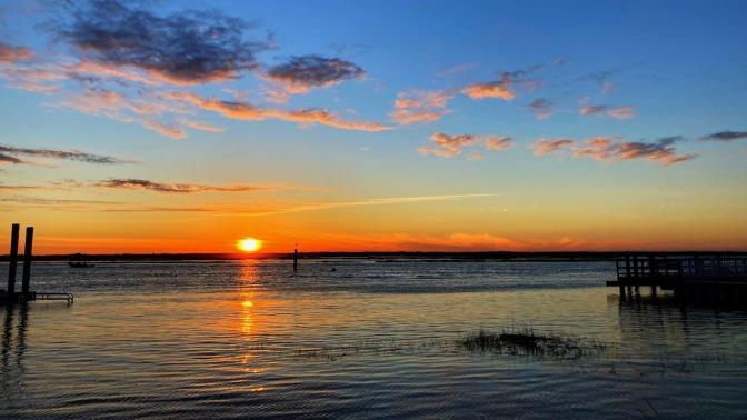Sunset over bay side of Sea Isle City.