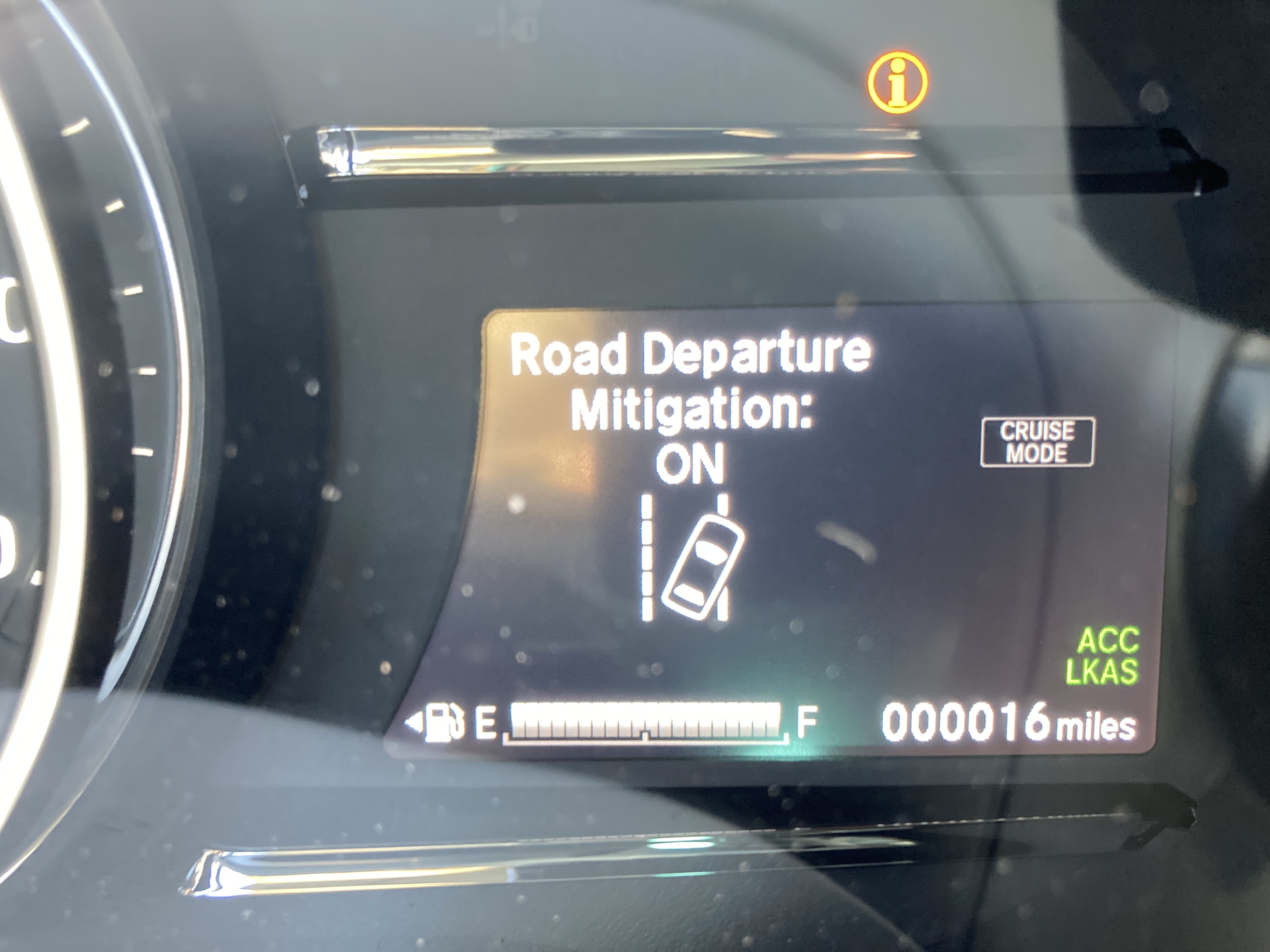 Car display with Road Departure Mitigation: On displayed and odometer reading 00016 miles.
