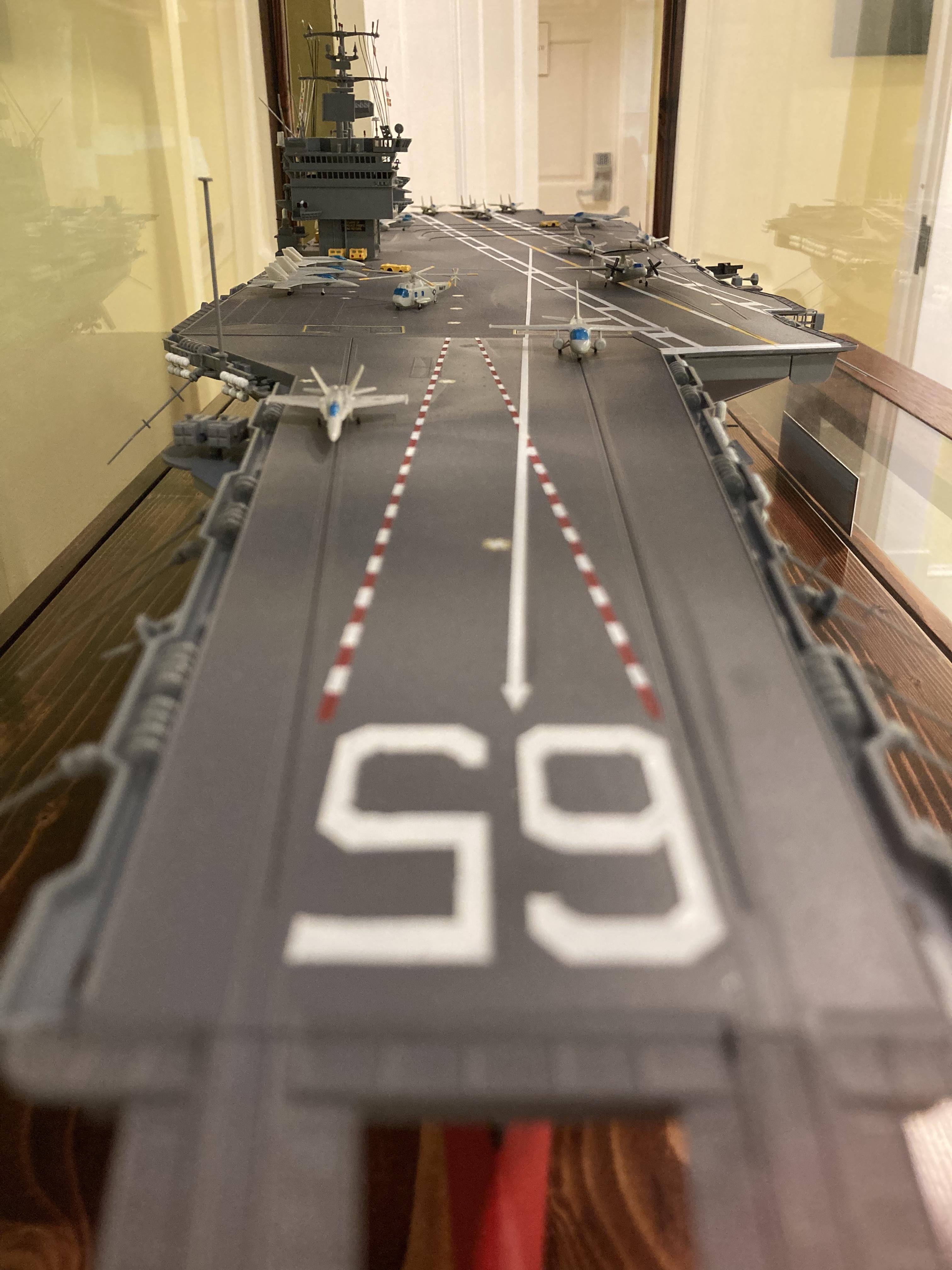 Model of USS Enterprise aircraft carrier.