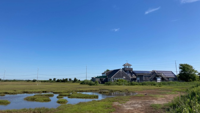 Wetlands Institute, with marshland in foreground.