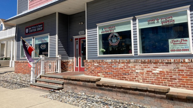 Exterior of Red, White, and Brew coffee shop.
