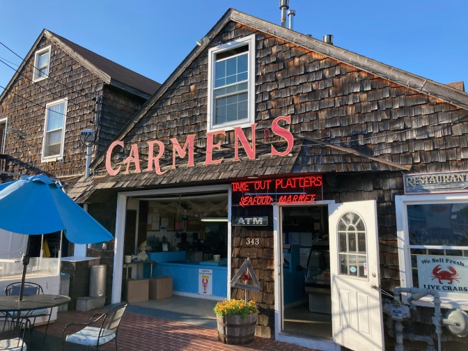 Exterior of Carmen's Seafood Restaurant.