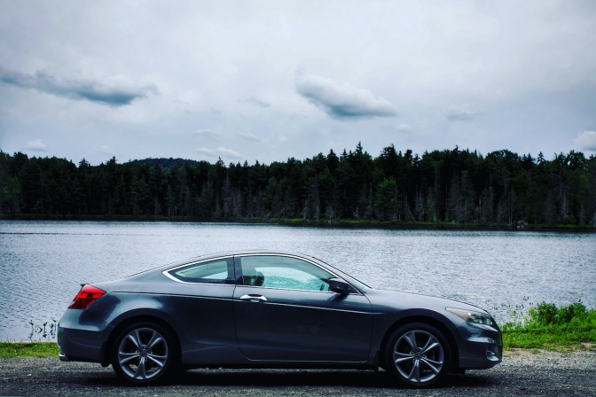 2012 Honda Accord coupe, parked in front of Quiver Pond.