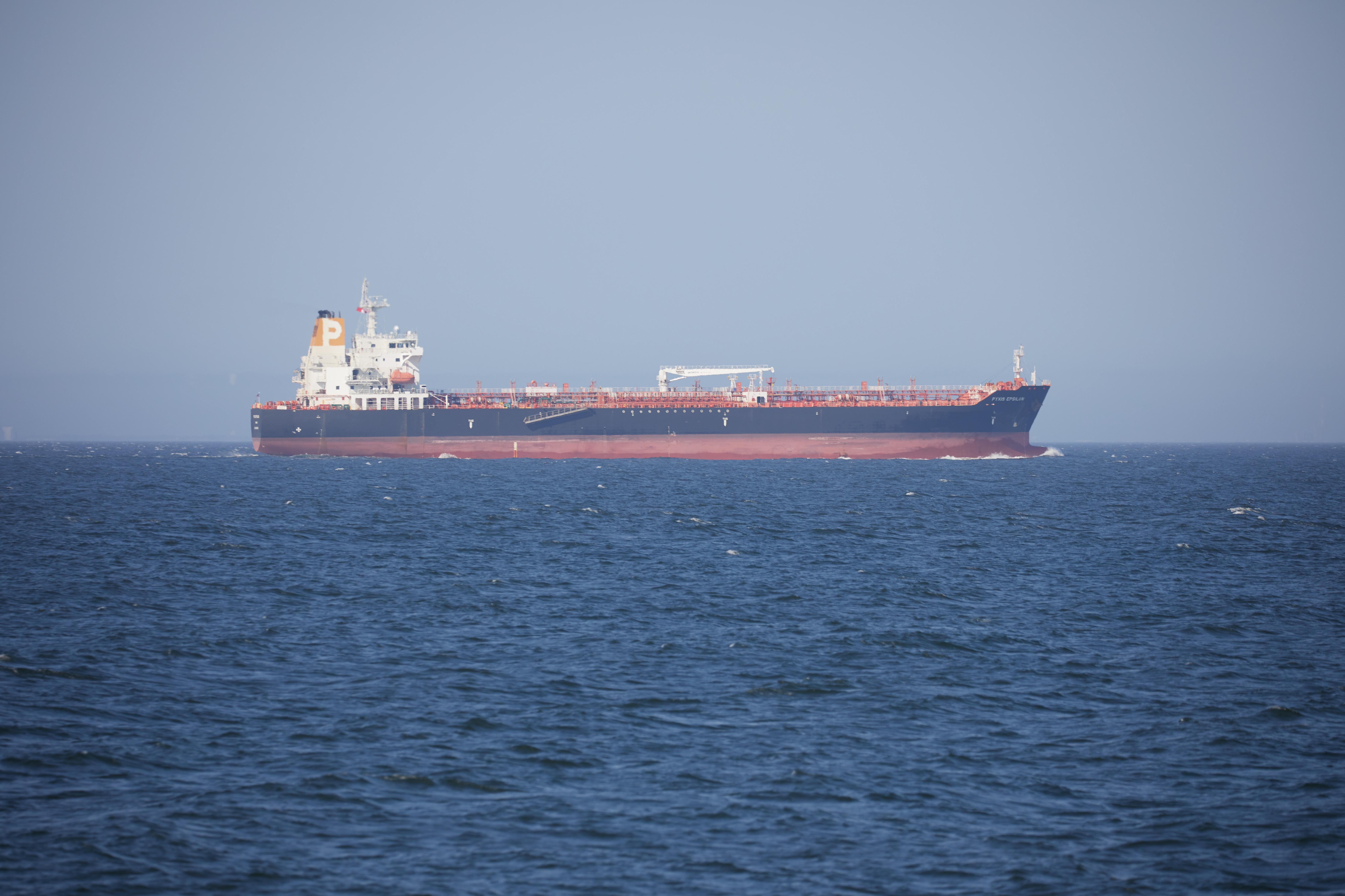 Oil tanker on ocean.