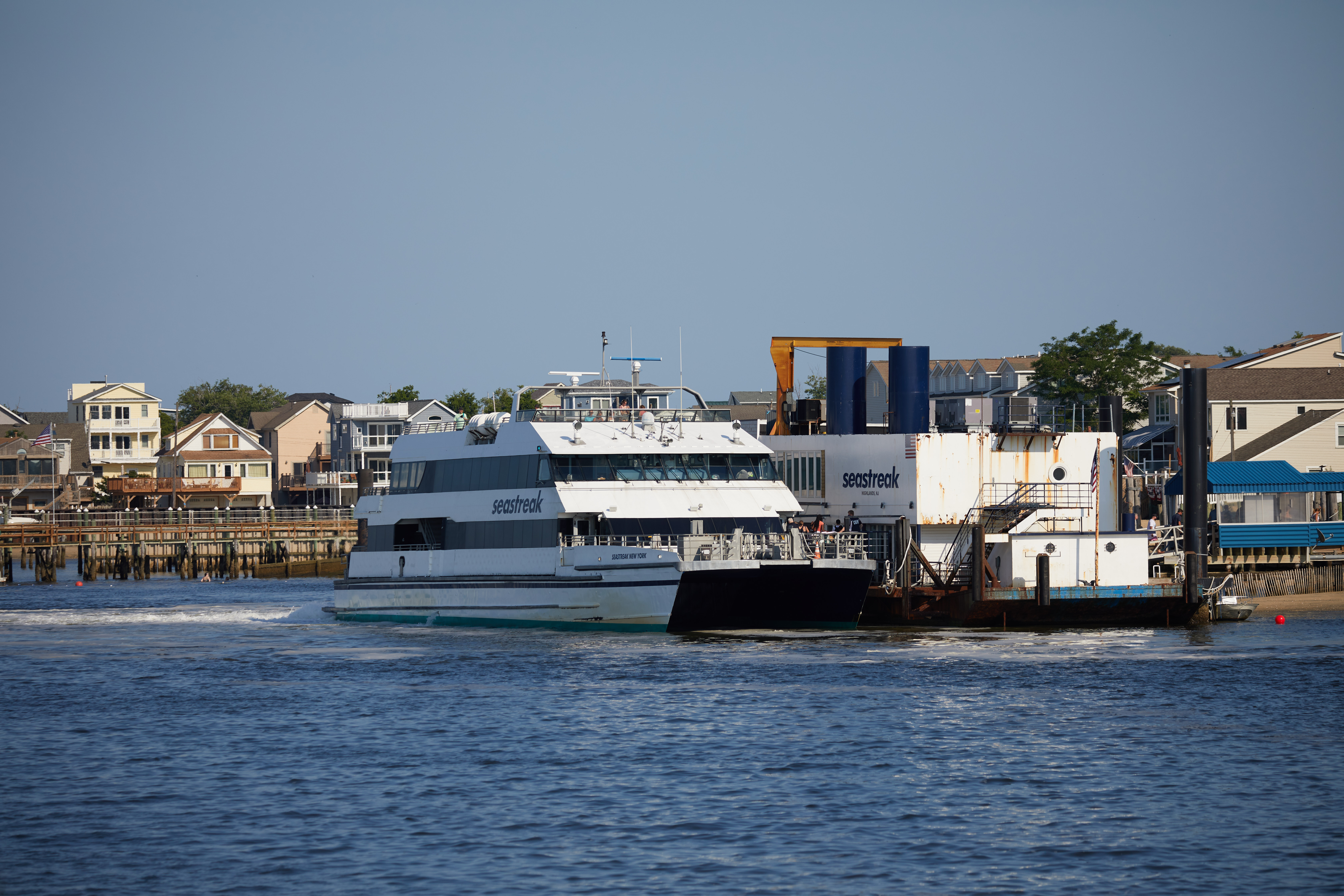 Seastreak Ferry docked at terminal.