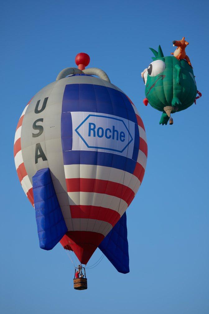 Grey rocket ship balloon with American flag, with