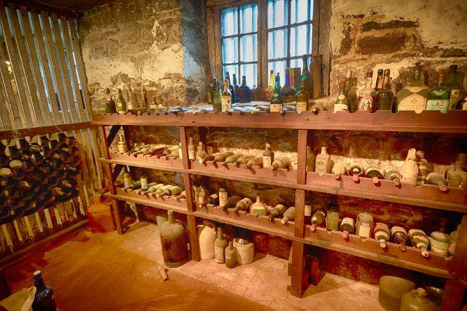 Wine cellar in basement.