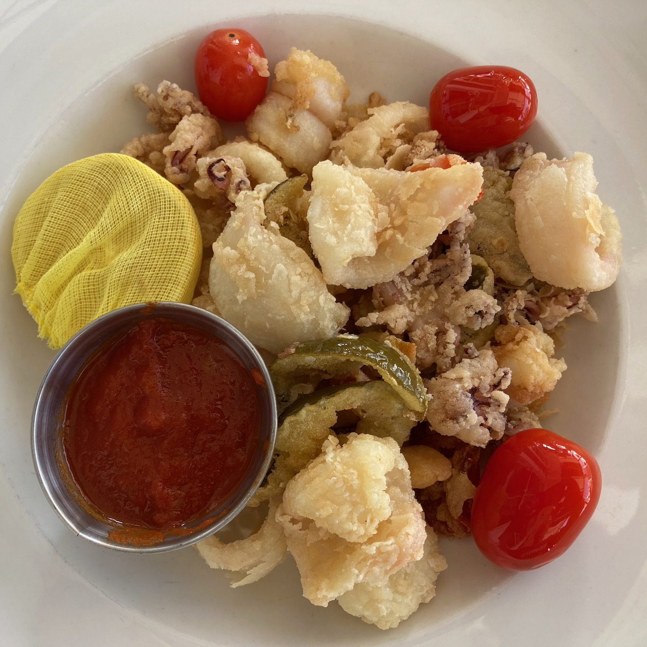 Bowl with fried calamari.