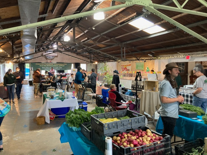 Farmers Market inside building.