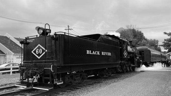 Black River Steam engine at train station.