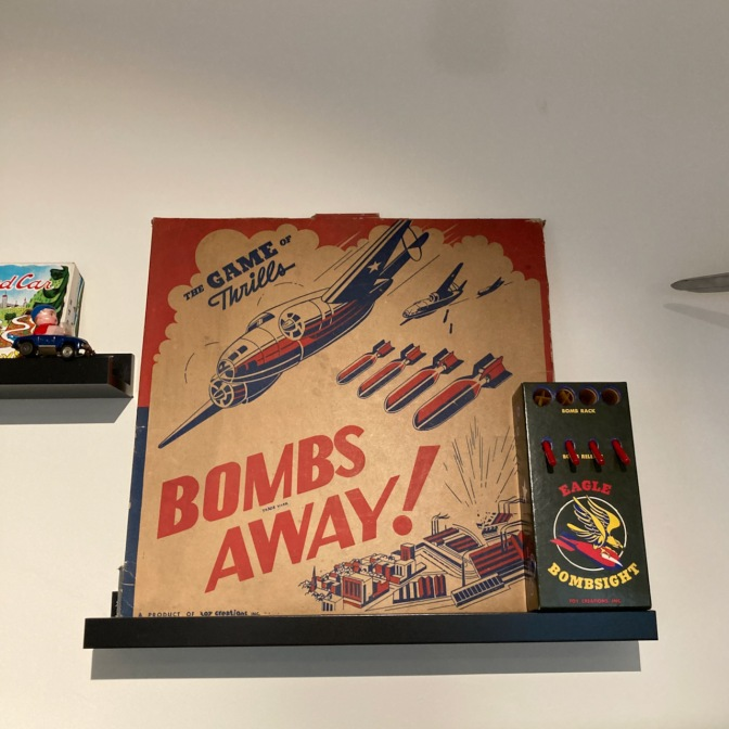 Bombs Away game on shelf.