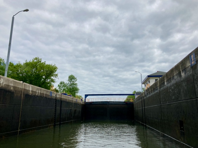 Erie Canal lock E18, now with significantly less water.