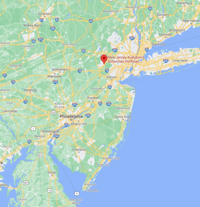 Map of New Jersey with red pin in location of New Jersey Audubon's Scherman Hoffman Wildlife Sanctuary.