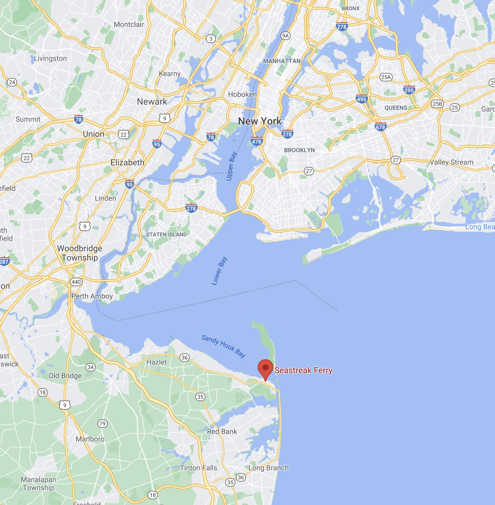 Map of eastern shore of NJ along Sandy Hook Bay and Lower Bay. A red pin is in the location of Highlands, NJ.