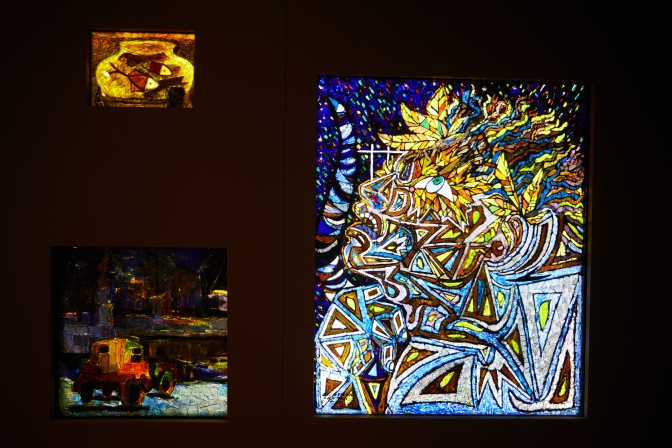 Three stained glass panels.