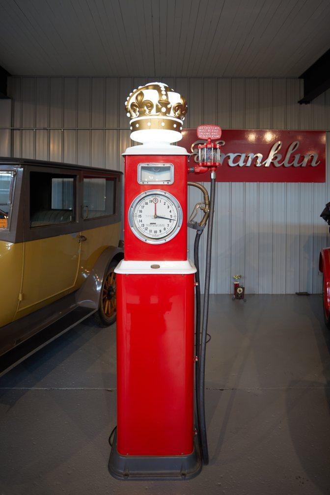 Red gasoline pump.