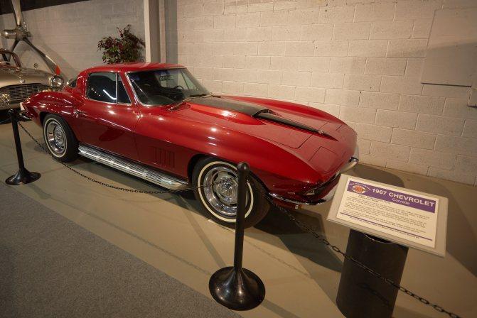 1967 red Chevrolet Corvette hardtop.