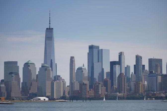 Manhattan skyline across Upper New York Bay.