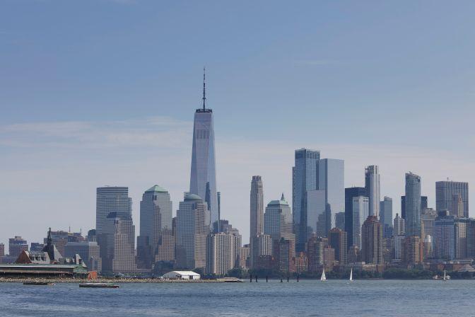 View of New York skyline from across Upper Bay.