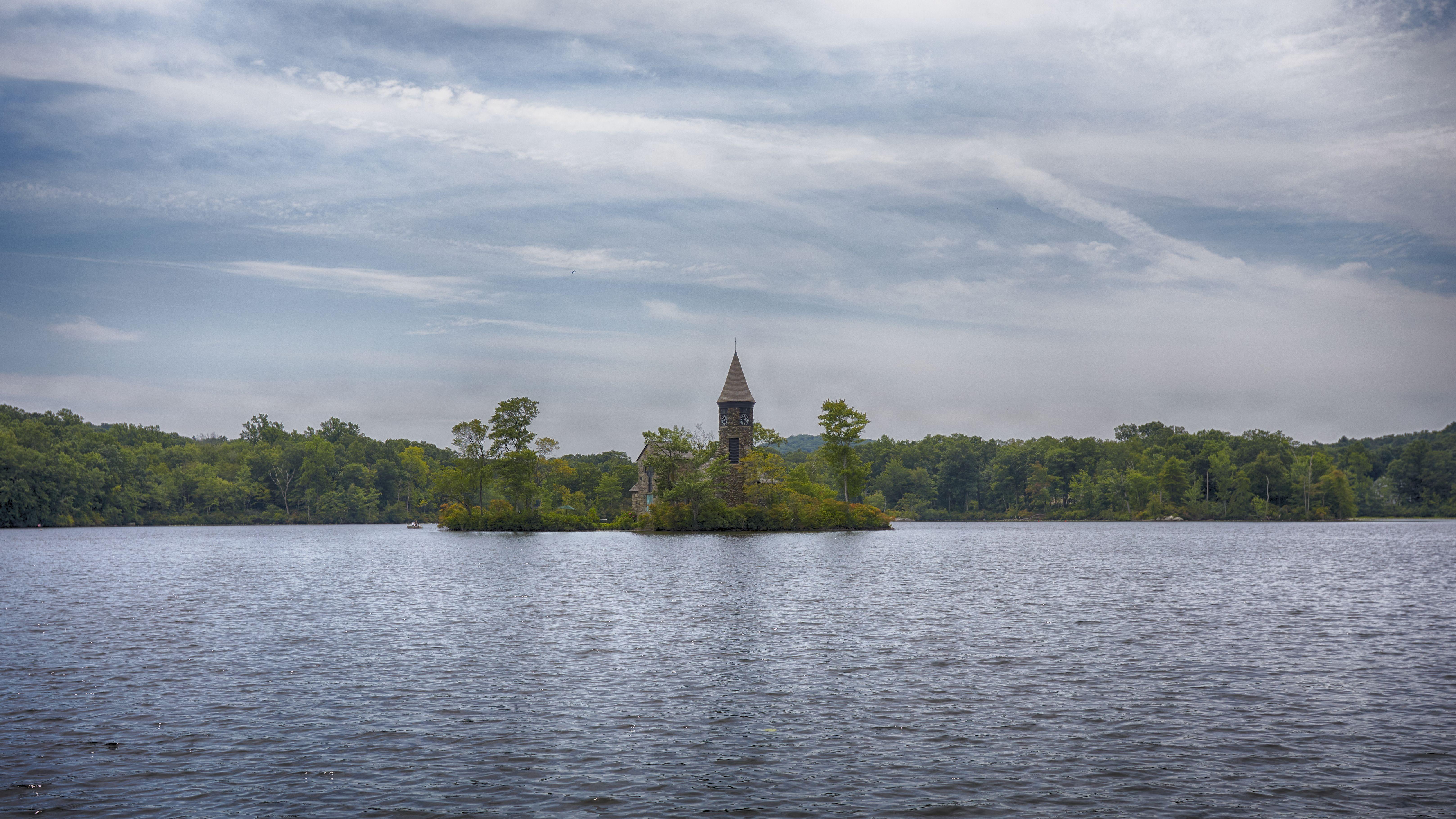 View of St. Hubert's Chapel across lake.