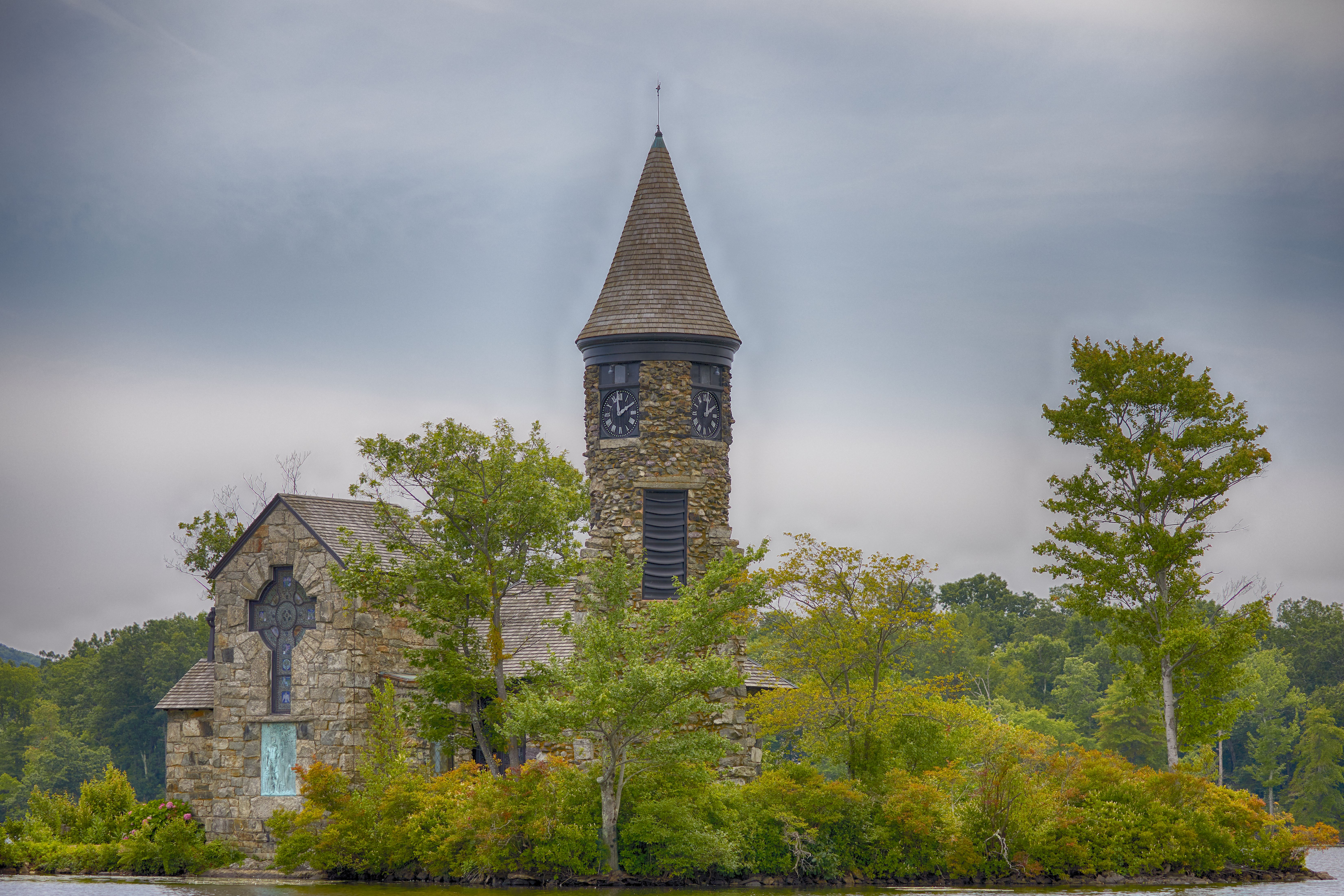 View of St. Hubert's Chapel from lake.