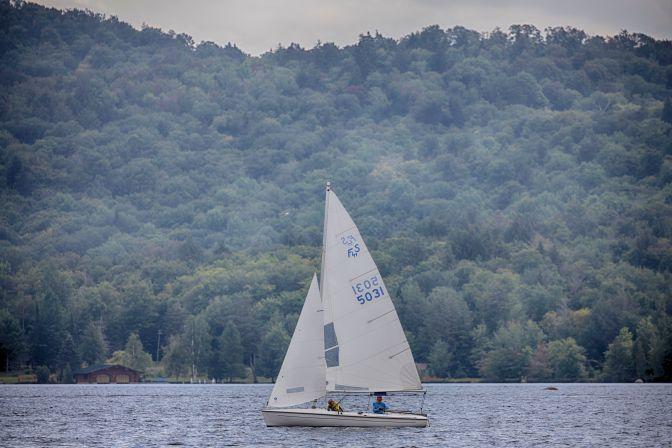 Sailboat sailing on Fourth Lake.