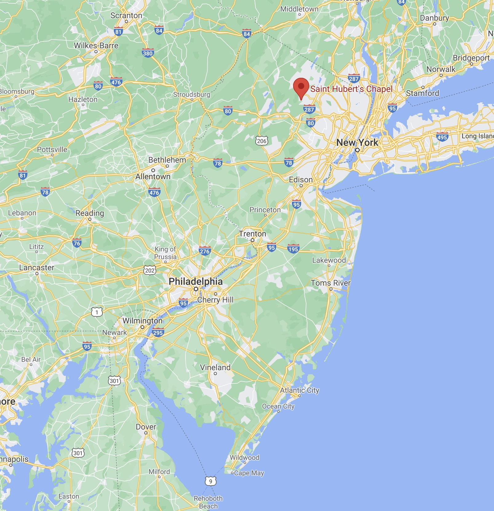 Map of New Jersey with red pin in location of Saint Hubert's Chapel.