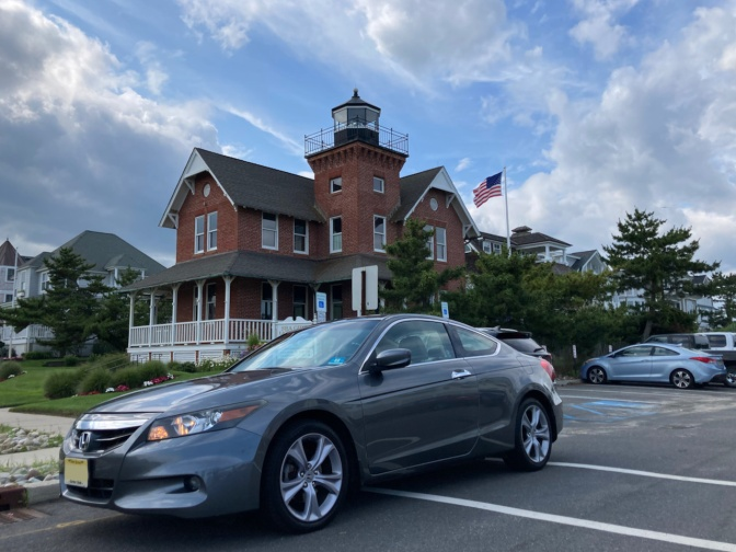 2012 Honda Accord parked in front of Sea Girt Lighthouse.